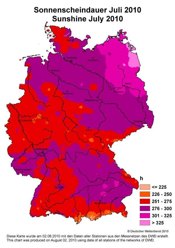 Sonnenstunden Im Jahr 2012 Die Einstrahlungskarte Des Deutschen